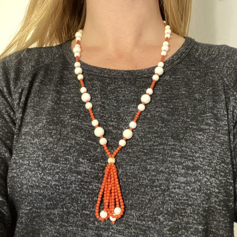14K YG Red & White Coral Bead Necklace 55g, 26""