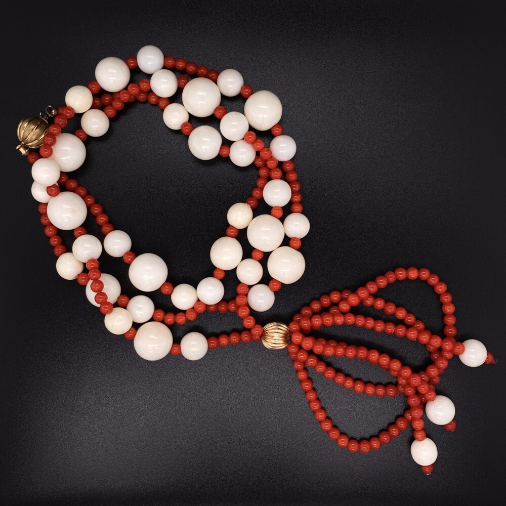 """Image 2 for 14K YG Red & White Coral Bead Necklace 55g, 26"""""""
