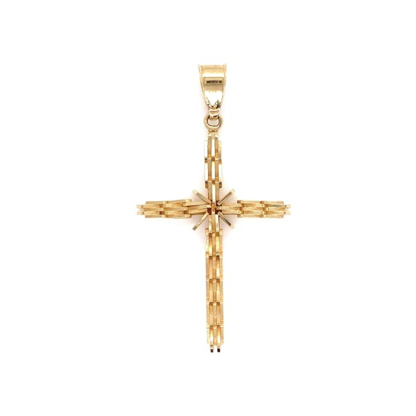 Closeup photo of 14K YG Fluted Cross Pendant 1.95g, 1.5in tall