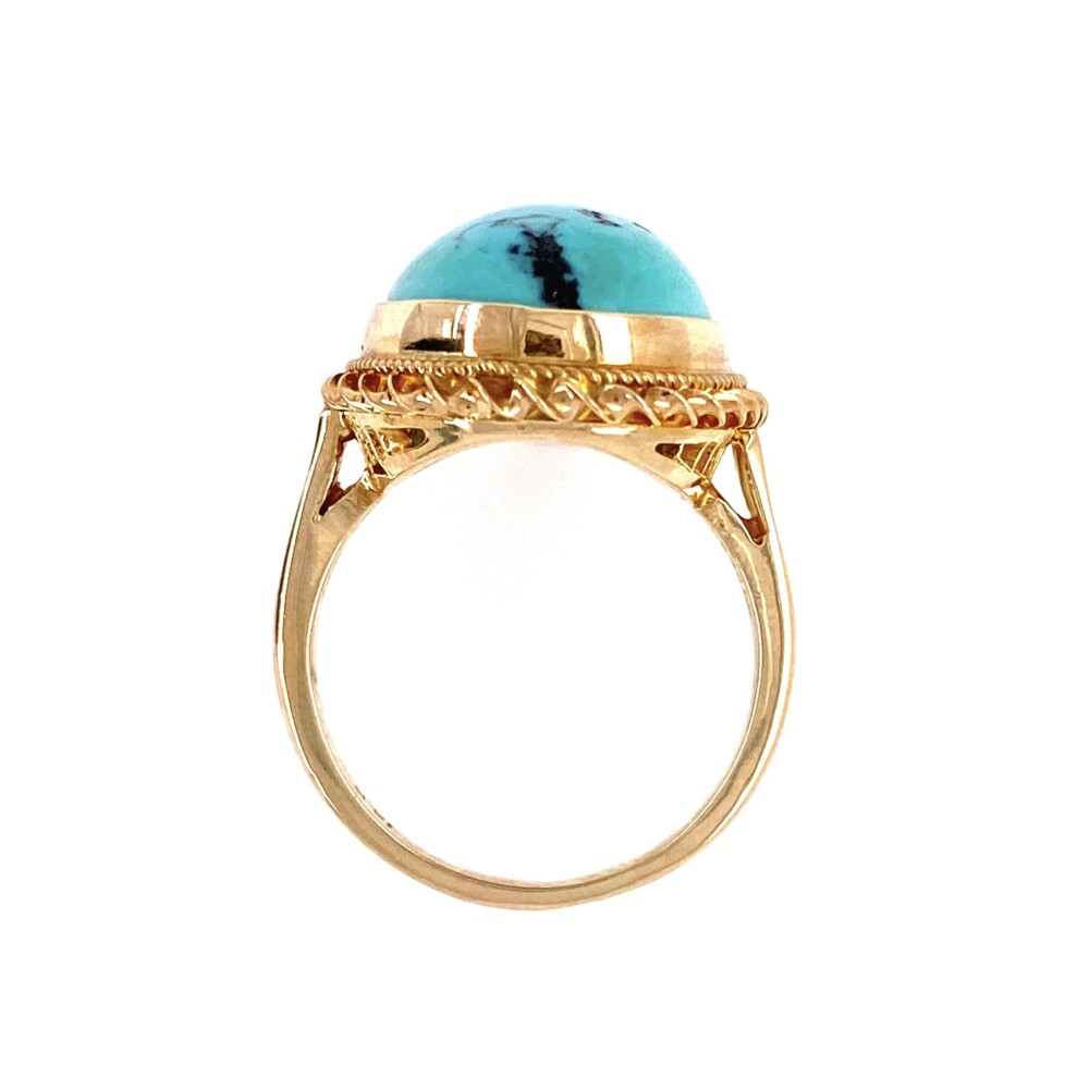 Image 2 for 14K YG Oval Turquoise 1960's Rope Ring 6.4g, s6