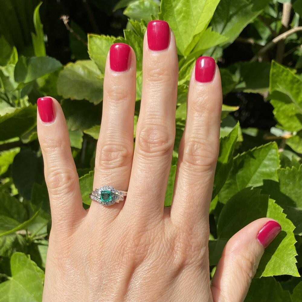 1950's Platinum .55ct Emerald & .45tcw Diamond Ring 5.6, s6.25