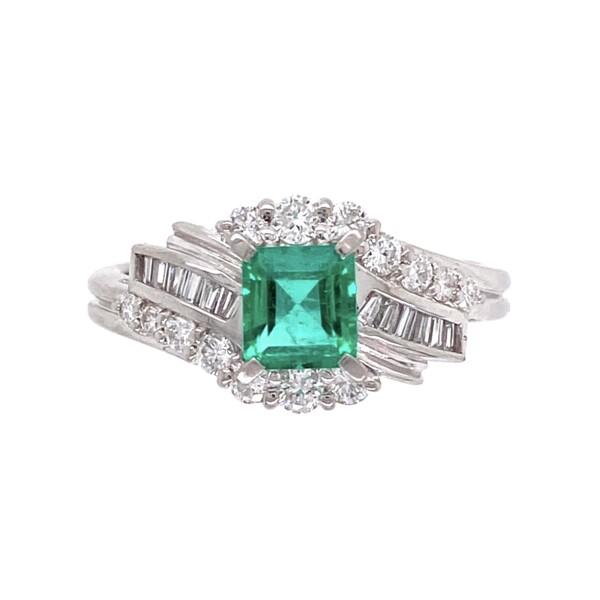 Closeup photo of 1950's Platinum .55ct Emerald & .45tcw Diamond Ring 5.6, s6.25