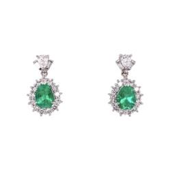 """Closeup photo of Platinum Pear Emerald & Diamond Drop Earrings 5.8g, 0.75"""" Tall"""