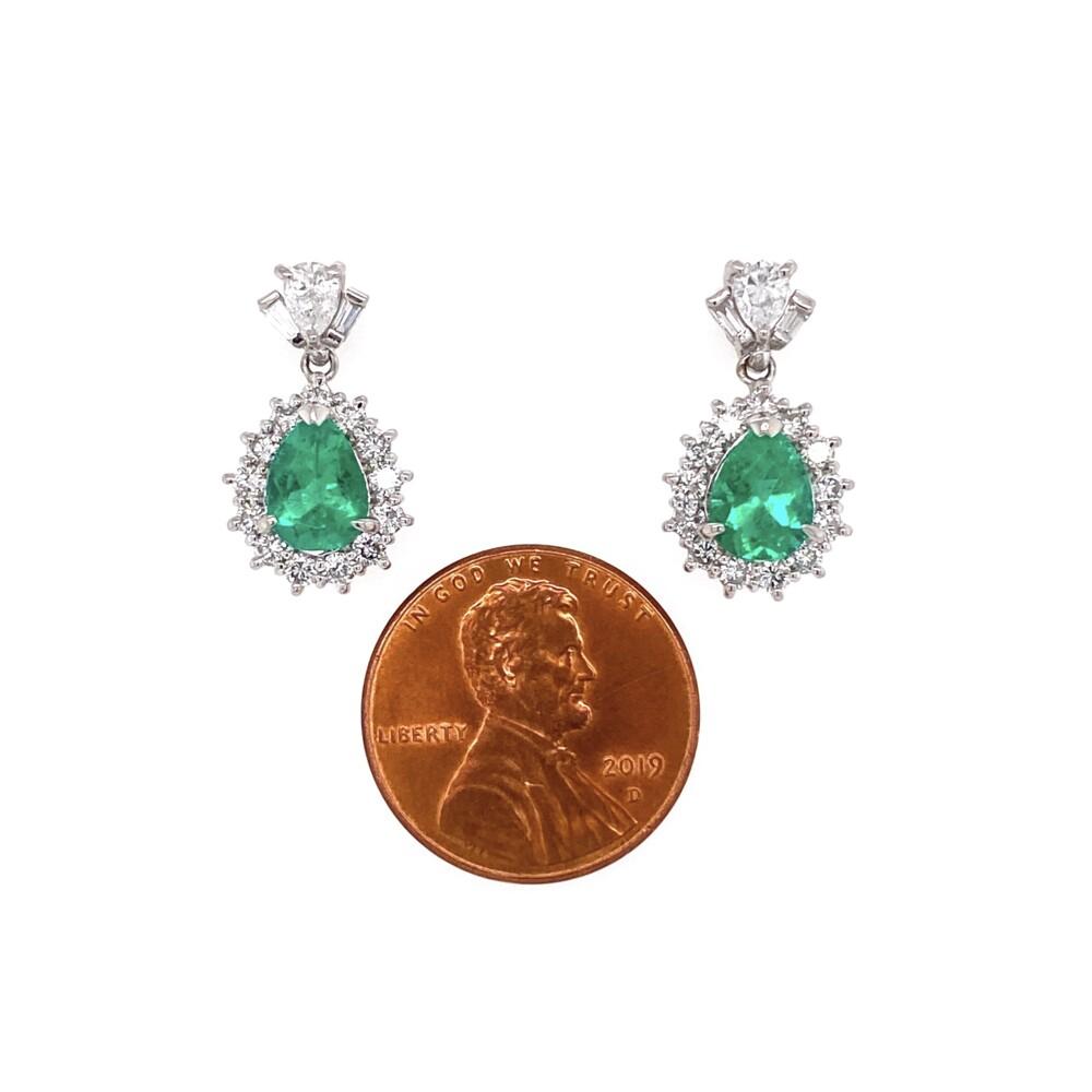 "Image 2 for Platinum Pear Emerald & Diamond Drop Earrings 5.8g, 0.75"" Tall"