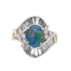 Closeup photo of Platinum 1950's 1.24ct Black Opal & Diamond Ring 9.0g, s6.5