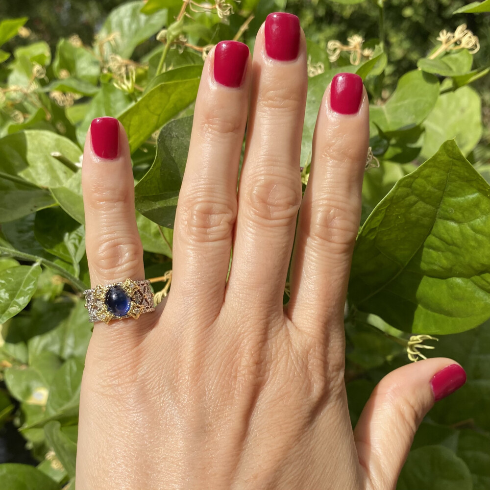 Platinum & 18K Cabochon Sapphire & Diamond Filigree Ring 10g, s6