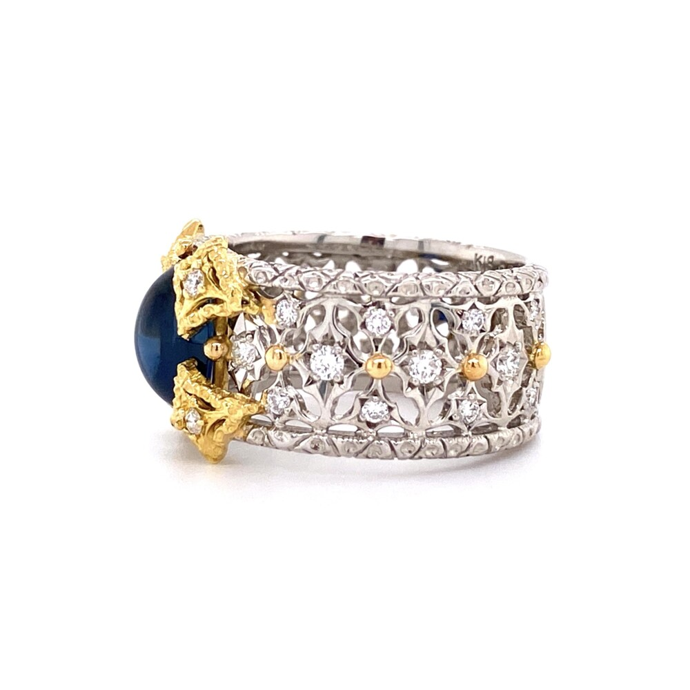 Image 2 for Platinum & 18K Cabochon Sapphire & Diamond Filigree Ring 10g, s6