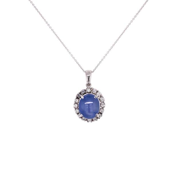 "Closeup photo of Platinum 1950's 8ct Star Sapphire & .30tcw Diamond Pendant 6.3g, 16"" Chain"