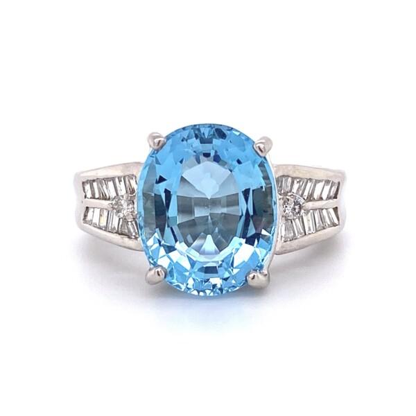Closeup photo of Platinum 1950's 5.15ct Oval Aquamarine & .45tcw Diamond Ring 11.1g, s5.5