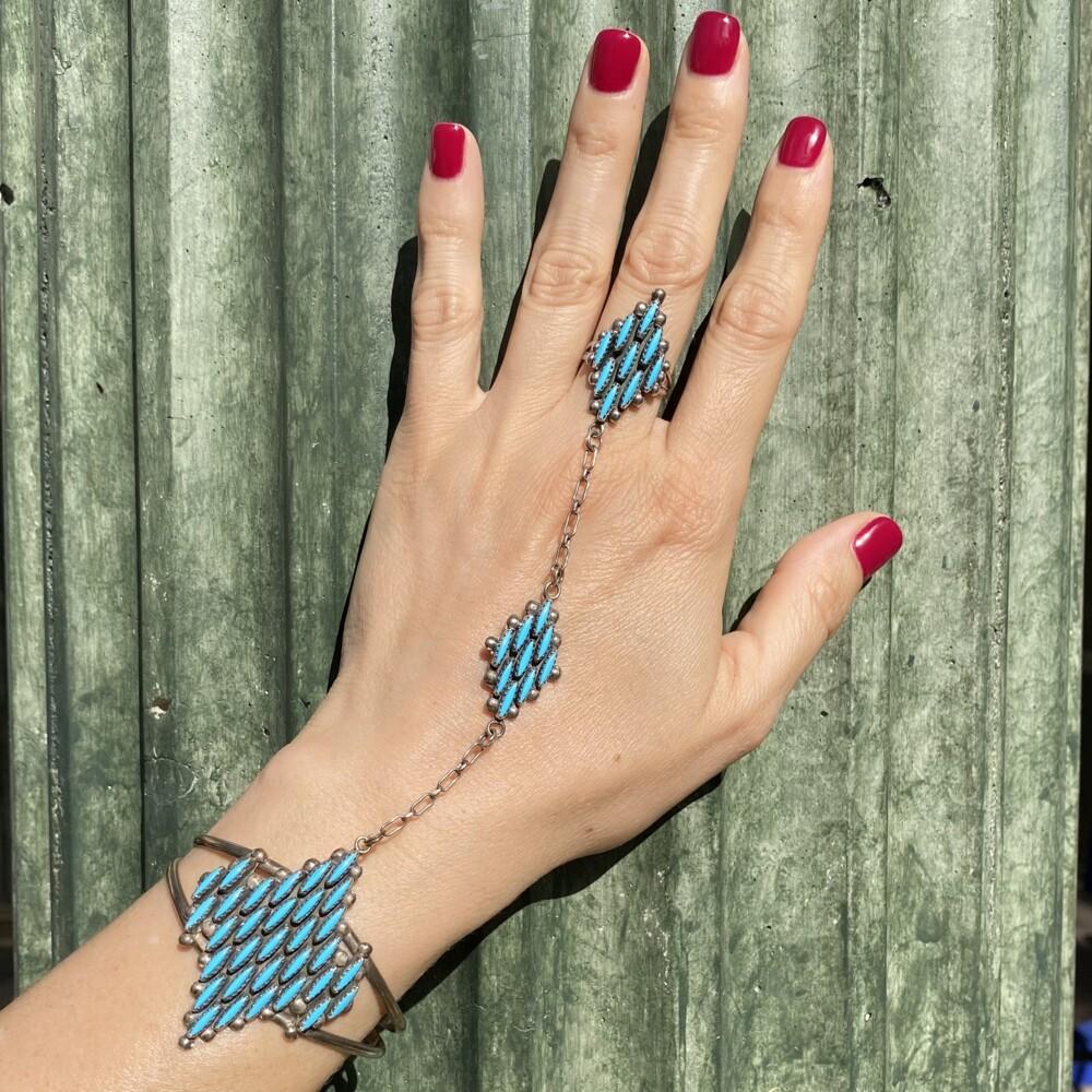 925 Sterling Native Zuni Turquoise Petit Point Bracelet Ring, 29.1g