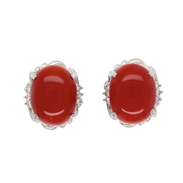 Closeup photo of Red Coral 1950's Earring in Platinum & .22tcw Diamond Clip Earrings 15.2g
