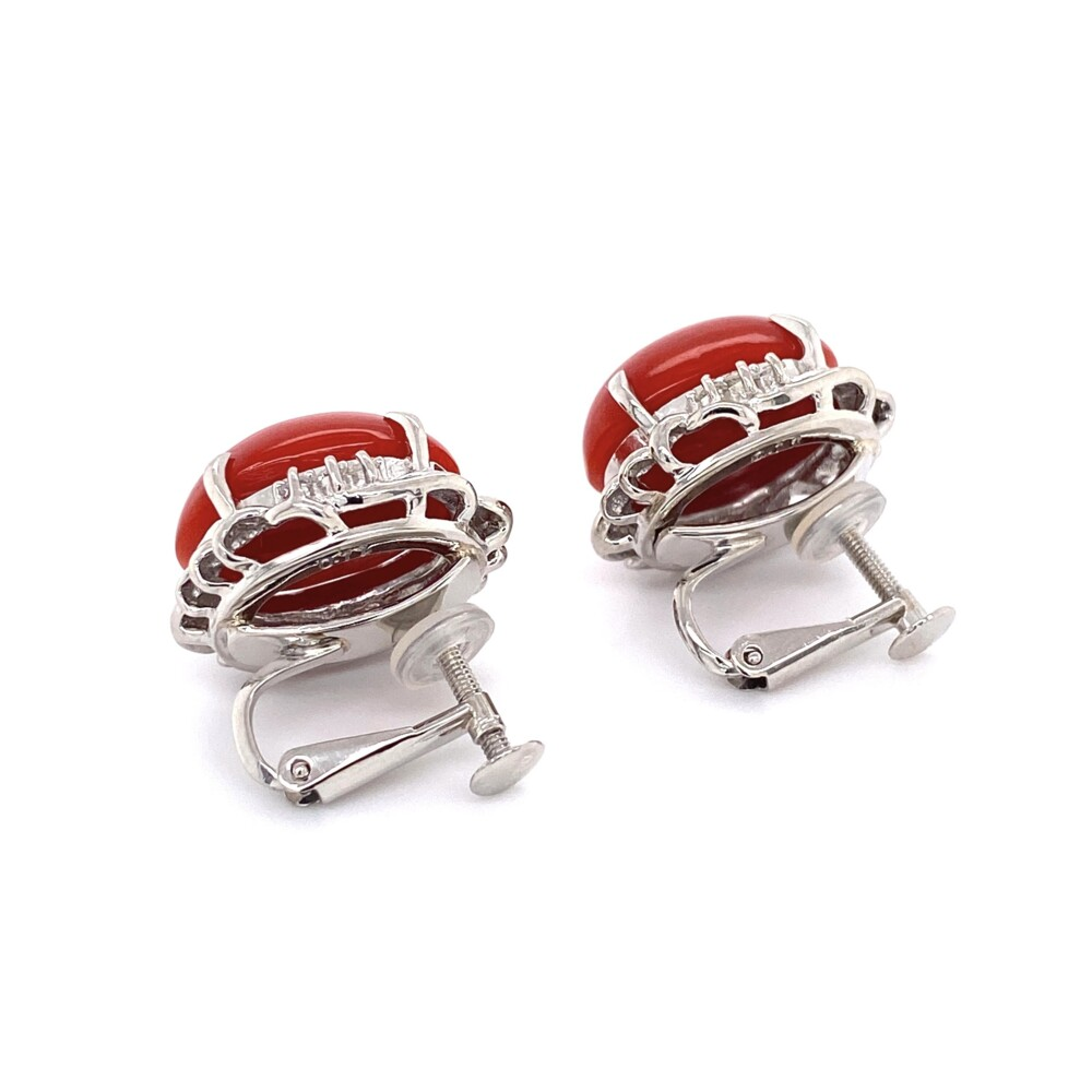 Red Coral 1950's Earring in Platinum & .22tcw Diamond Clip Earrings 15.2g