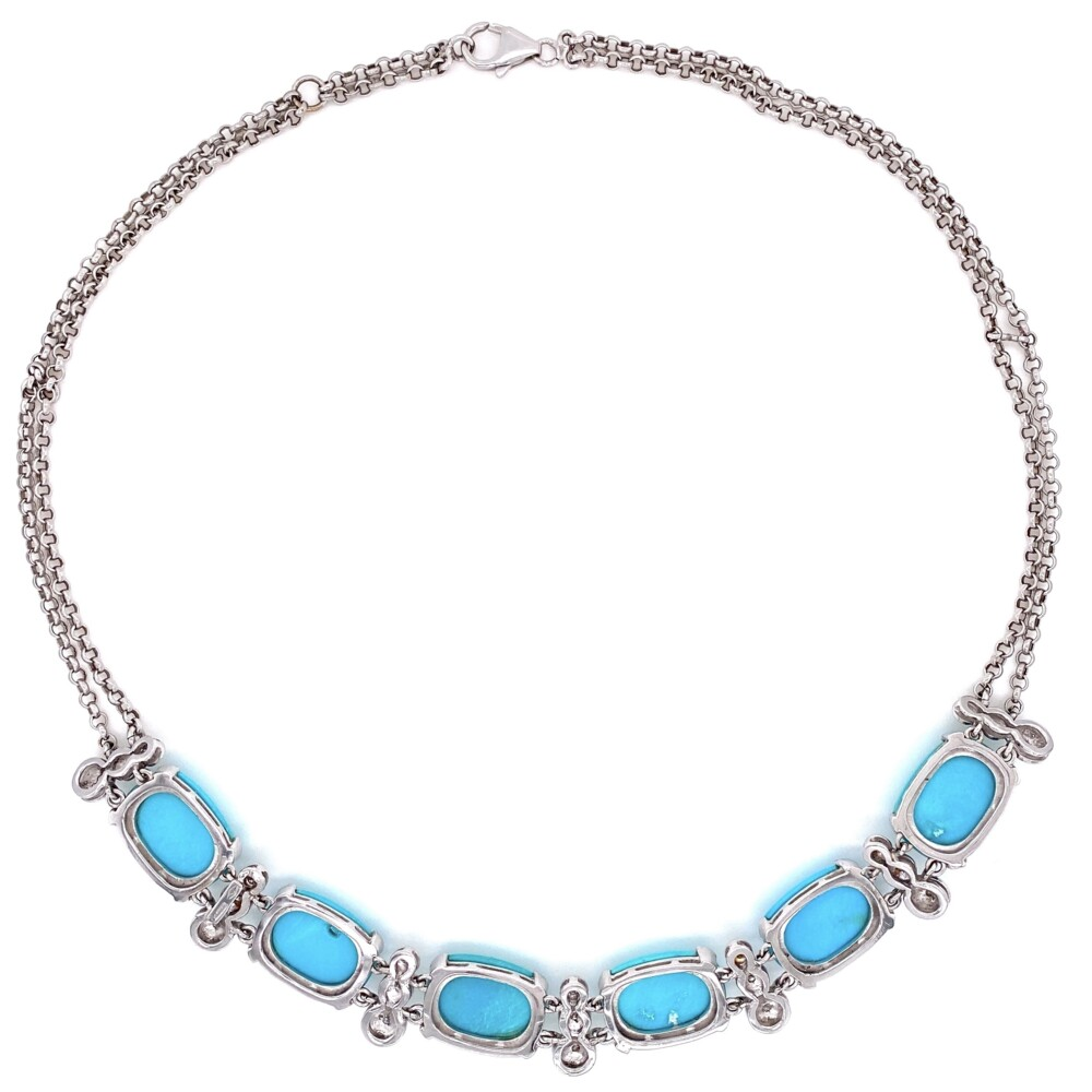 Natural Turquoise & Diamond Collar Necklace in 18K WG  43.8g, 18""