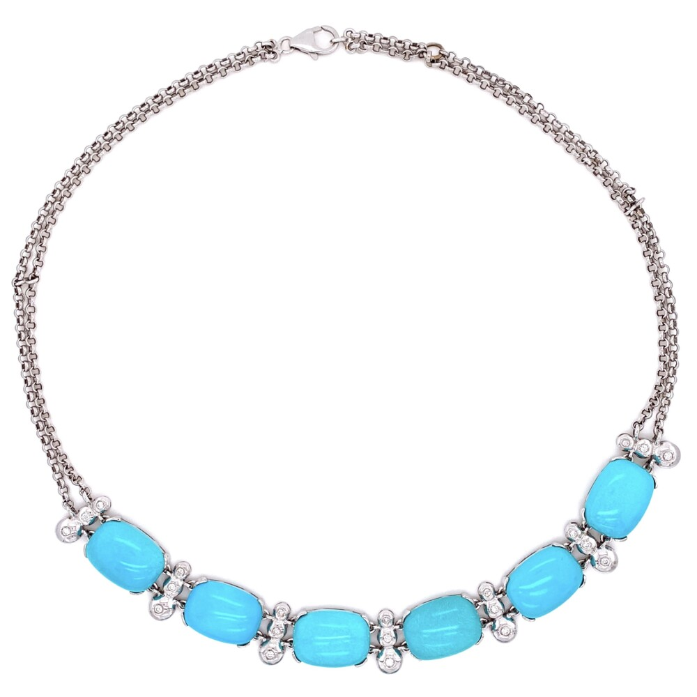 """Image 2 for Natural Turquoise & Diamond Collar Necklace in 18K WG  43.8g, 18"""""""