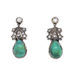 Closeup photo of Platinum Edwardian Turquoise & Diamond Drop Earrings