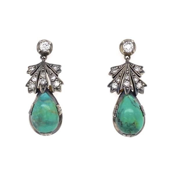Closeup photo of Platinum Edwardian Turquoise & Diamond Drop Earrings