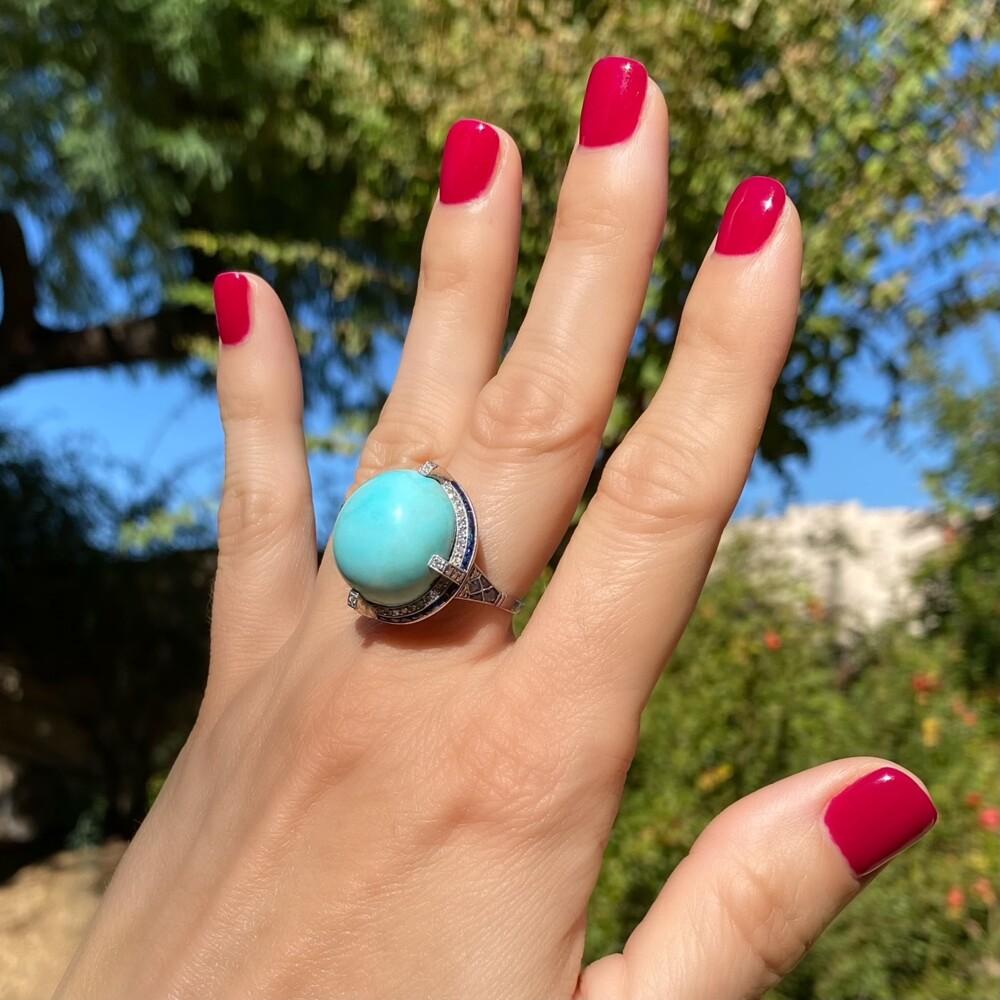 Platinum Art Deco Turquoise Dome Ring with Sapphires & Diamonds
