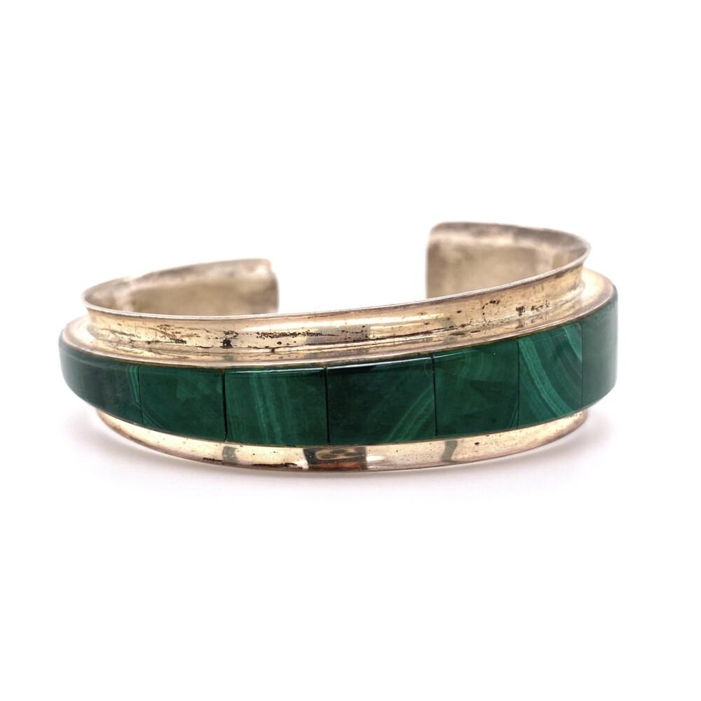 925 Sterling Native Tapered Inlay Malachite Cuff Bracelet 30.8g