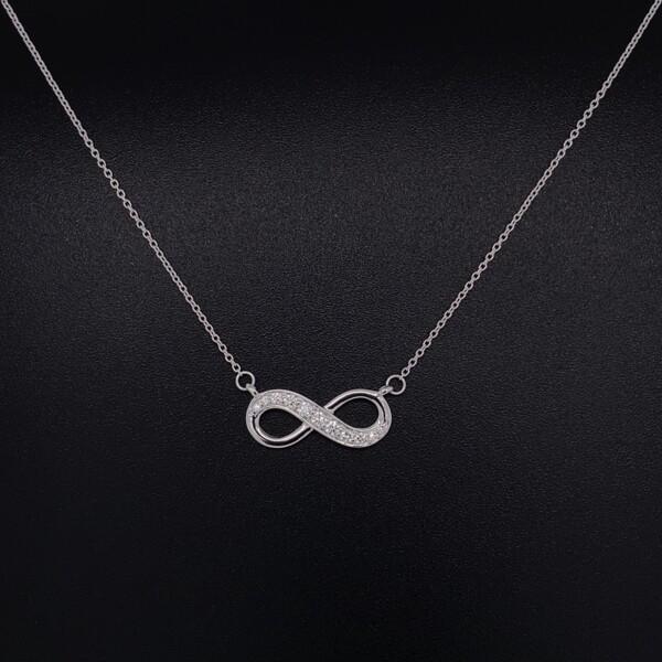 "Closeup photo of 14K WG Diamond Infinity Pendant Necklace .13tcw, 16-18"""