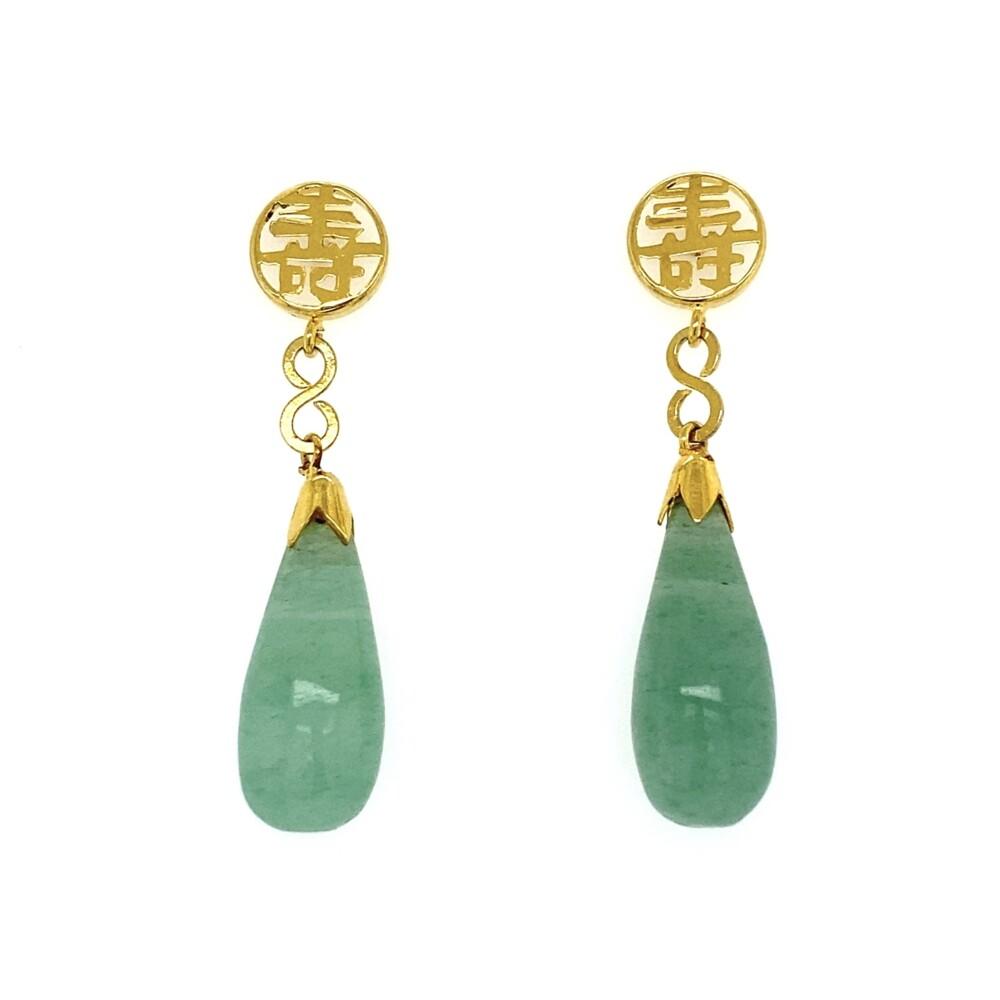 14K YG Jadeite Jade Tear Drop Chinese Earrings