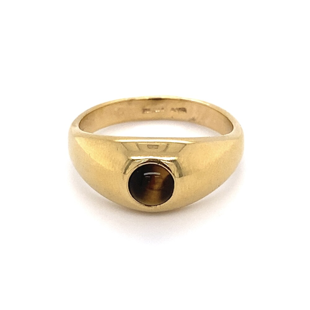 18K YG Gent's Band with Tiger's Eye Cabochon 7.7g, s13