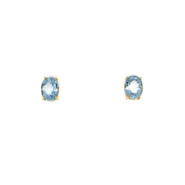 Closeup photo of 18K YG Oval Aquamarine Stud Earrings 2tcw, 1.95g