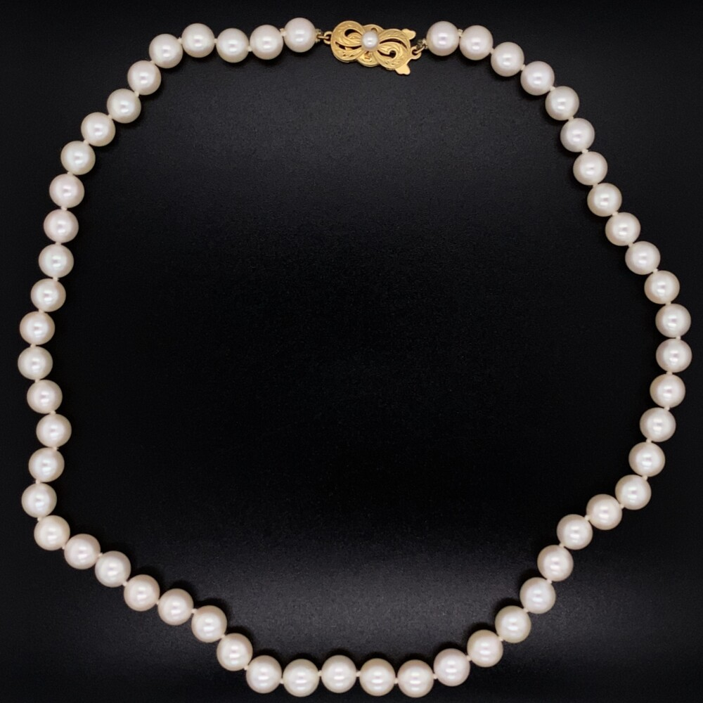 """Image 2 for MIKIMOTO Cultured Pearl Necklace 6.6-6.9mm 18K YG Clasp 16"""""""