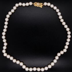 """Closeup photo of MIKIMOTO Cultured Pearl Necklace 6.6-6.9mm 18K YG Clasp 16"""""""