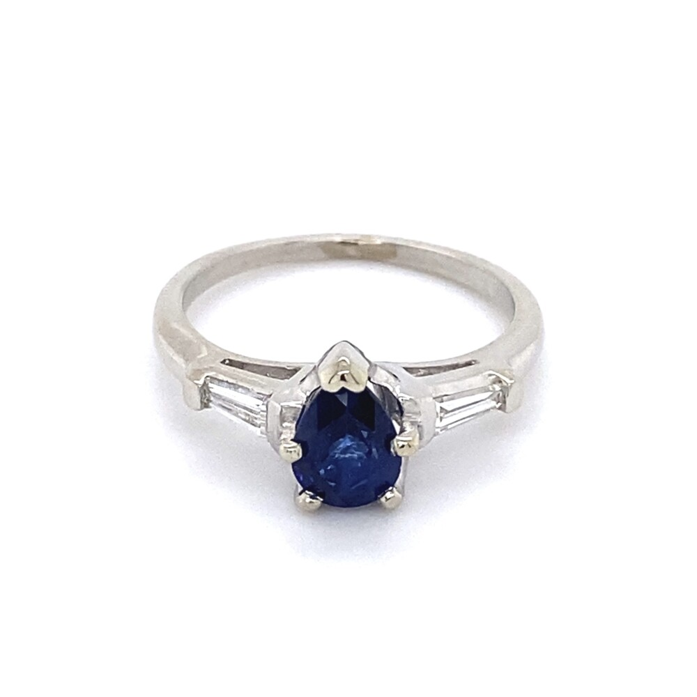 Platinum Classic 1.18ct Pear Sapphire with 2 Baguette Diamonds .18tcw