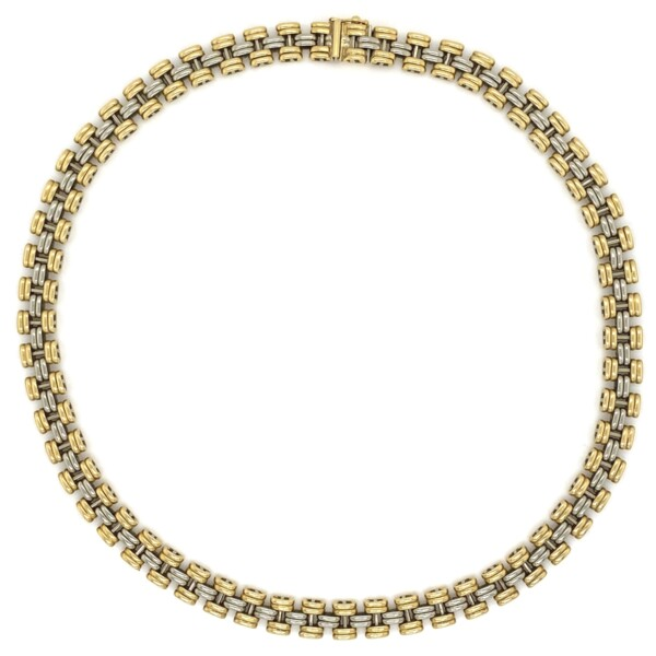 "Closeup photo of 1980's FOPÉ 2tone Italian 18K Gold Link Chain Necklace 57.3g, 16"""