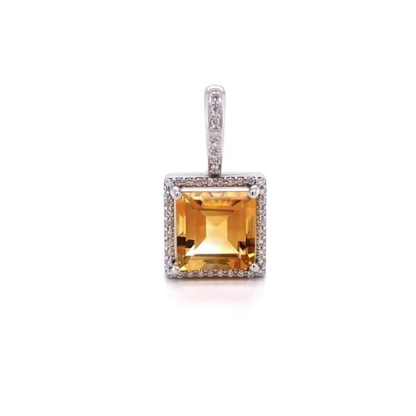 Closeup photo of 14K WG 2ct Square Citrine & .09tcw Diamond Pendant