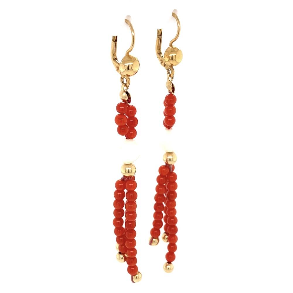 "18K YG Red & White Coral Bead Earrings 7.8g, 3.5"""