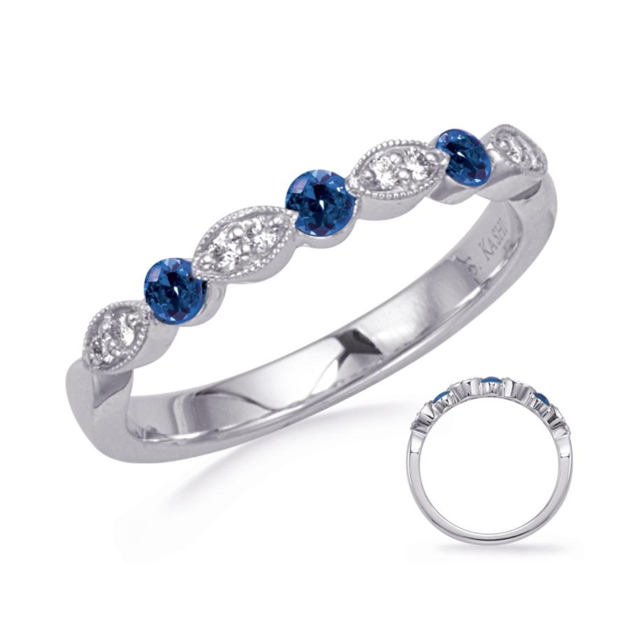 14K WG .26tcw Sapphire & .08tcw Diamond Half Way Band Ring, s6.5