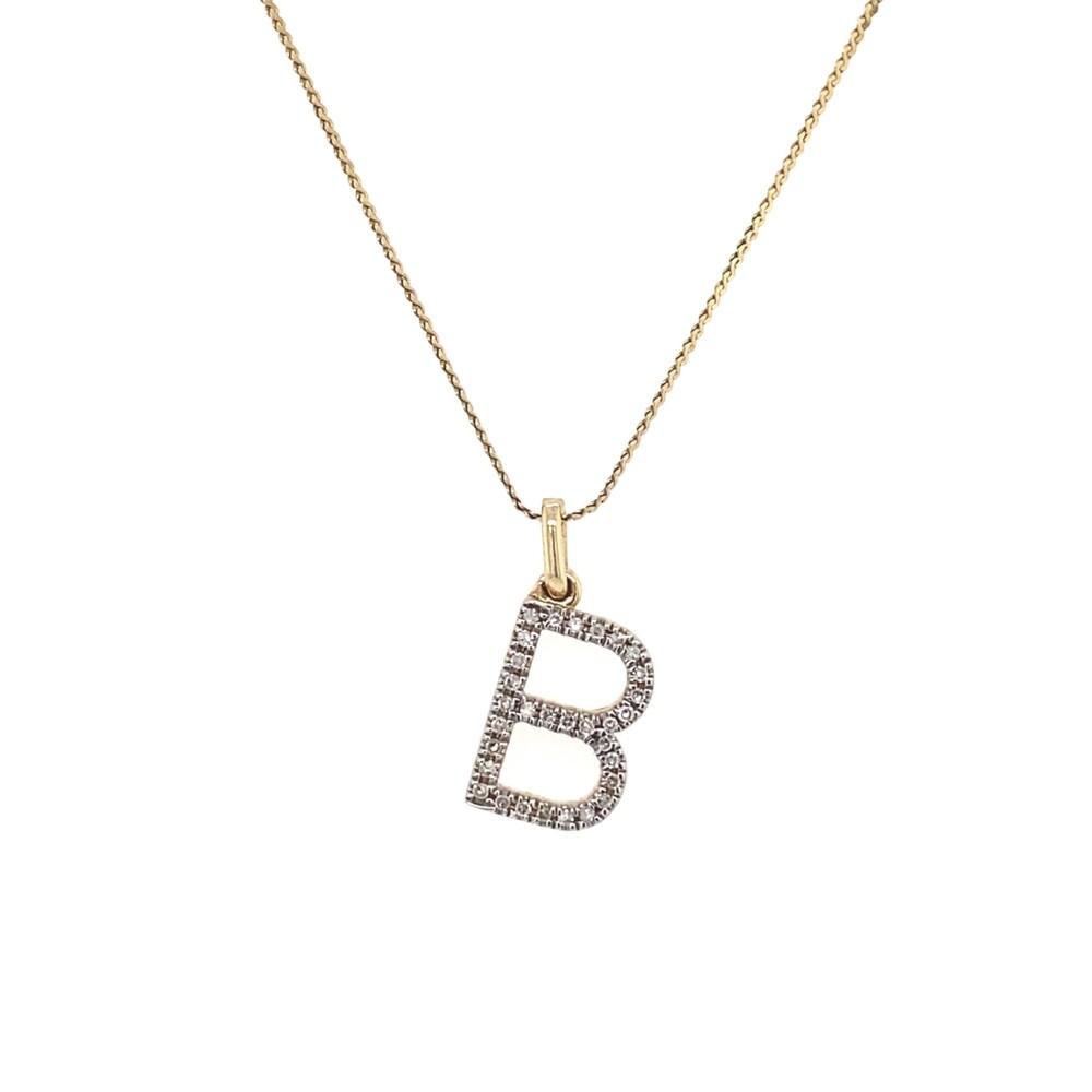 "14K YG Diamond Initial B Pendant .15tcw 2.1g, 16"" Chain"