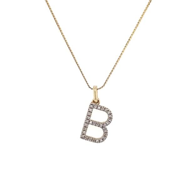 "Closeup photo of 14K YG Diamond Initial B Pendant .15tcw 2.1g, 16"" Chain"