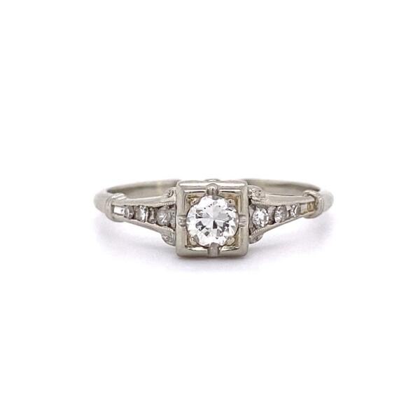 Closeup photo of 18K WG Art Deco .35ct Transitional Diamond Milgrain Ring 2.0g, s7.5