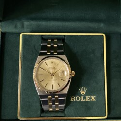 Closeup photo of Rolex 17013 18K & Steel Oysterquartz 36mm Full Bracelet & Box, c1986