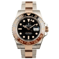 Closeup photo of Rolex 126711CHNR GMT Master II RootBeer Steel Rose Gold 2tone BNIB Complete 2020 on Oyster Bracelet