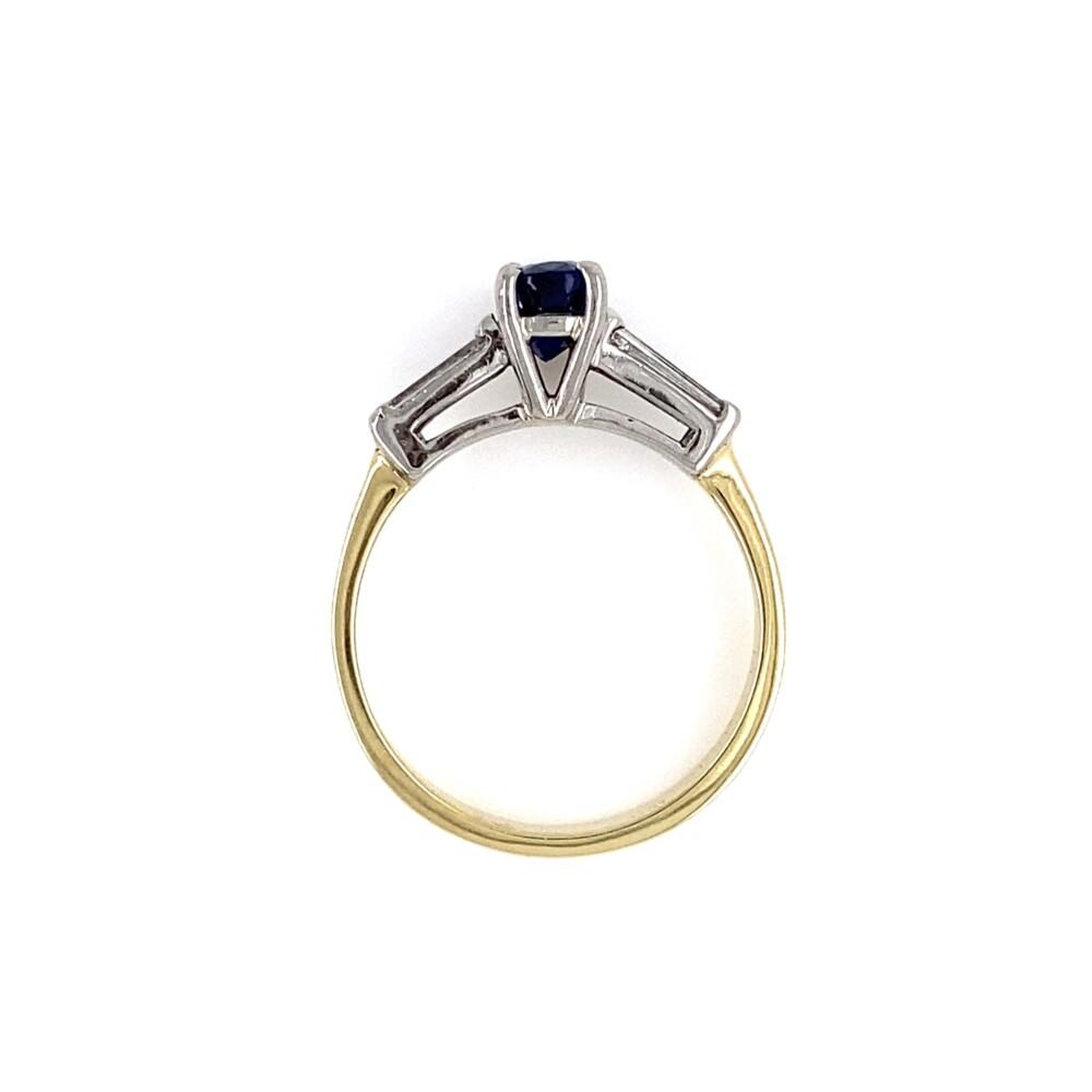 Platinum on 18K 1.12ct Oval Sapphire & .20tcw Diamond Ring 3.8g, s6.25