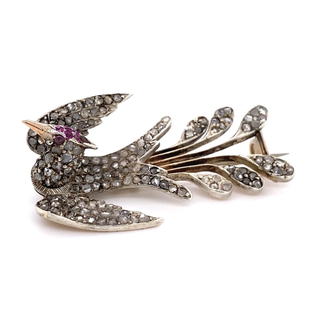 18K YG Victorian Diamond & Ruby Bird Brooch 11.2g,