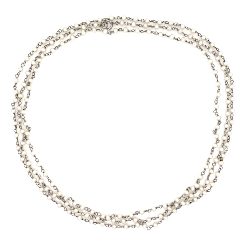 Platinum & Seed Pearl Chain Necklace 8.0g, 40""