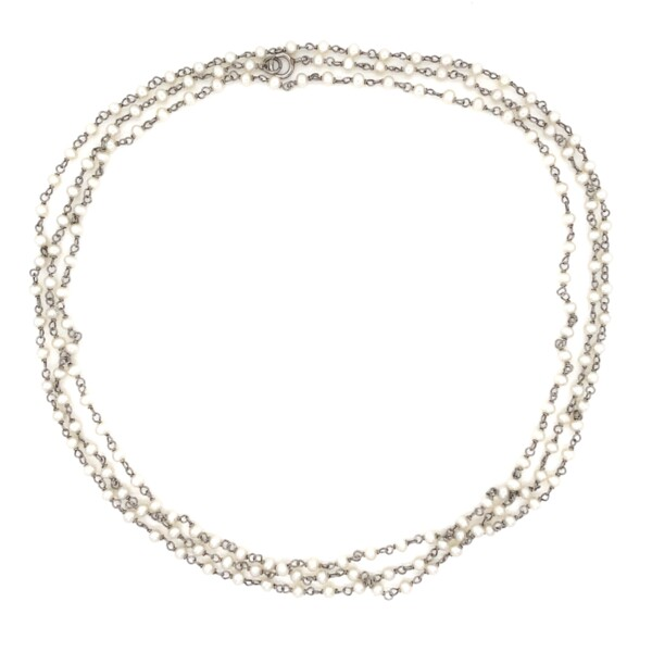 """Closeup photo of Platinum & Seed Pearl Chain Necklace 8.0g, 40"""""""