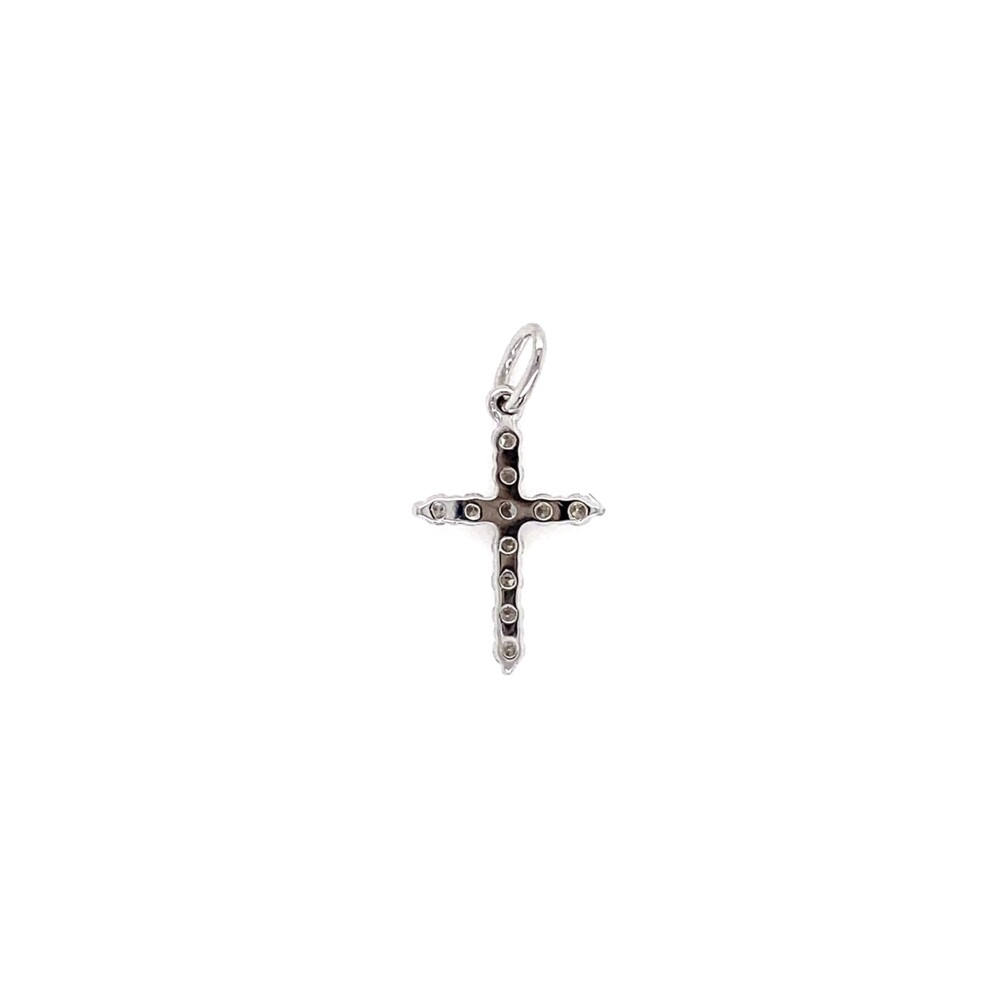 18K WG Diamond Cross Pendant .18tcw .40g