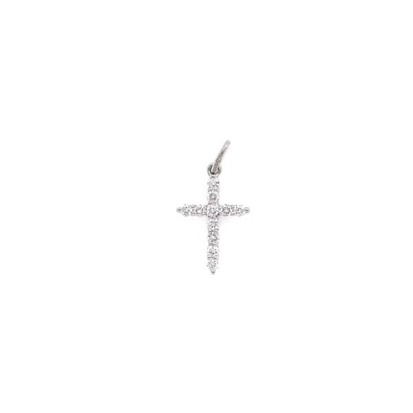 Closeup photo of 18K WG Diamond Cross Pendant .18tcw .40g