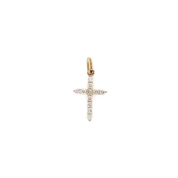 Closeup photo of 18K YG Diamond Cross Pendant .18tcw .40g