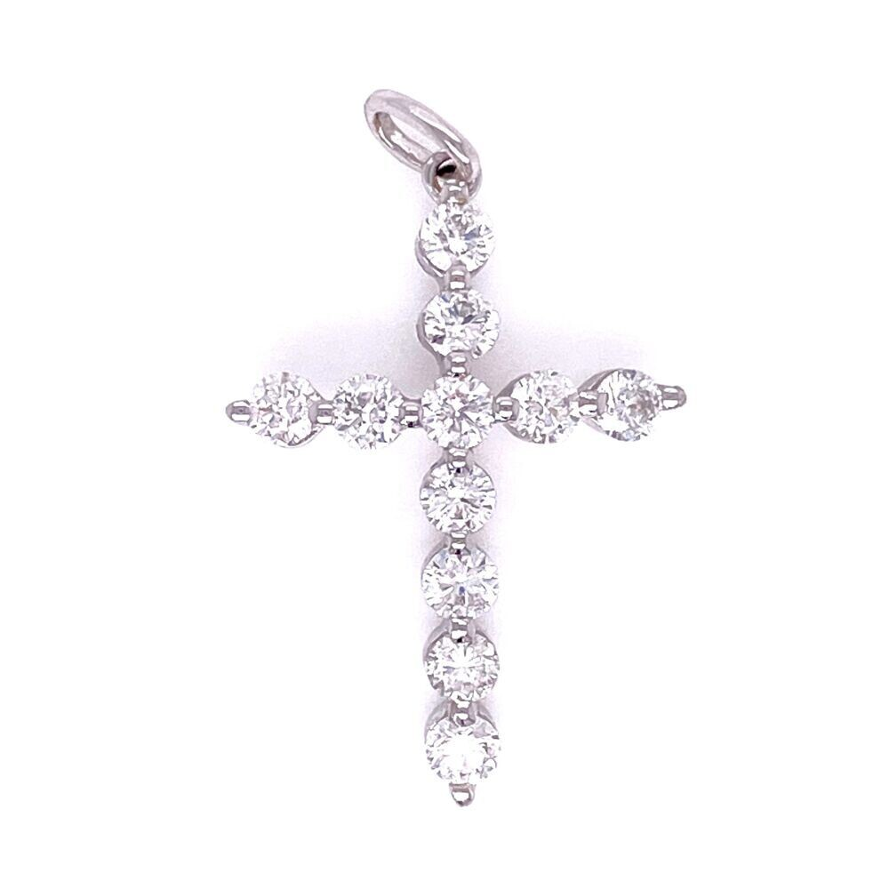 14K WG Common Prong Diamond Cross .69tcw