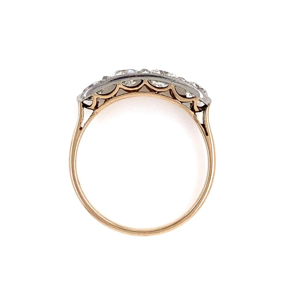 Edwardian Platinum on 18K 4 Stone Diamond Ring 1.80tcw, s8.75