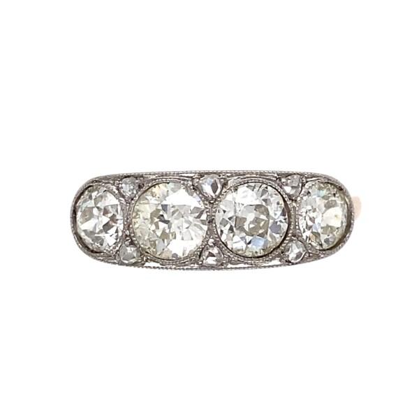 Closeup photo of Edwardian Platinum on 18K 4 Stone Diamond Ring 1.80tcw, s8.75