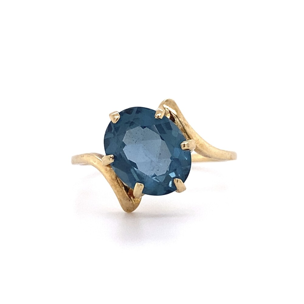 10K YG Bypass Ring with 2.5ct Oval London Blue Topaz Ring 2.4g, s7.5
