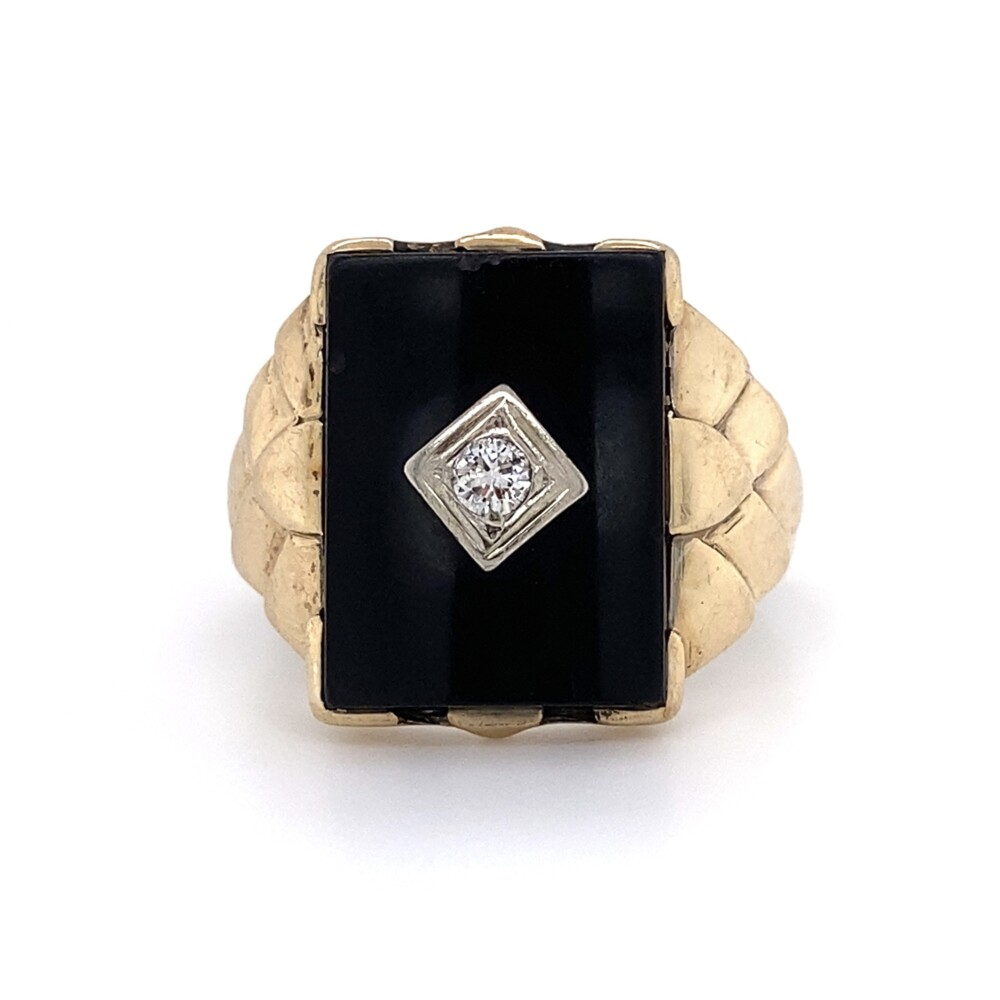 10K YG Mens Onyx Slab Diamond Ring .11ct 4.3g, s9